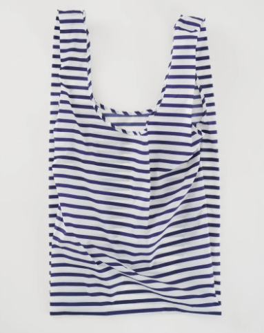 baggu big reusable bag sailor stripe laydown flat on white background