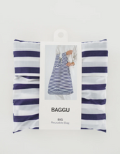 Load image into Gallery viewer, baggu big reusable bag sailor stripe in packaging laydown flat on white background