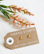 Load image into Gallery viewer, amano studio bumblebee gold stud earrings laid out in packaging
