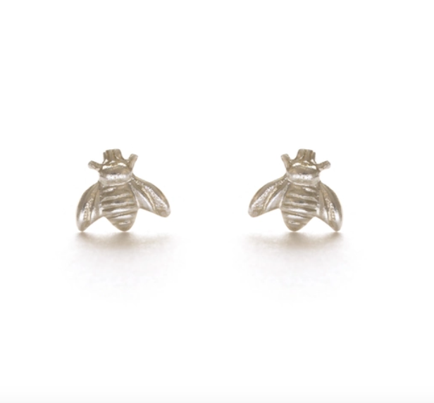 amano studio bumble earrings silver laydown on white background
