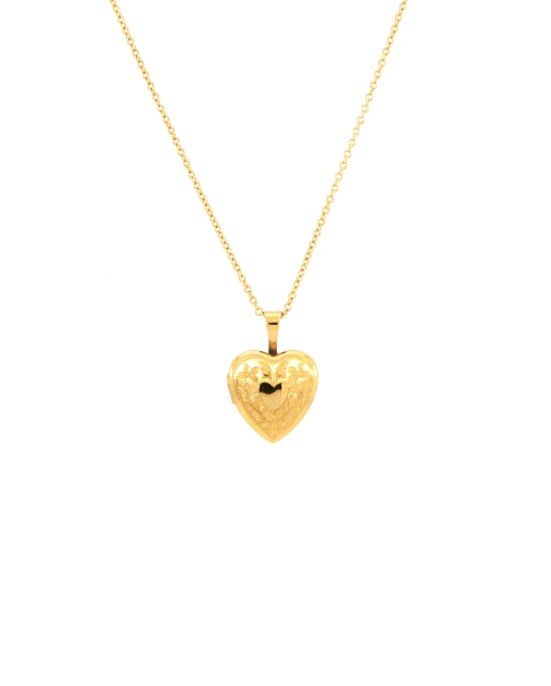Gold Lilly Locket Necklace