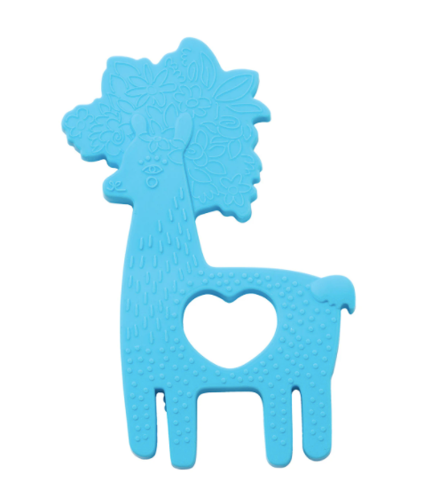 manhattan toy silicone teether blue llama top view laydown on whtie background