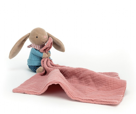 jellycat little rambler soother shown sitting with blanket unfurled on white background