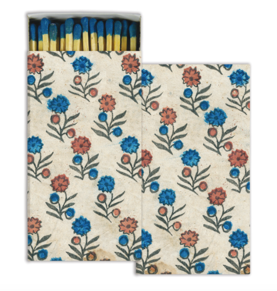 floral matches shown front and back with matches on white background