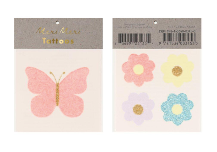 meri meri floral butterfly temporary tattoo top view in packaging