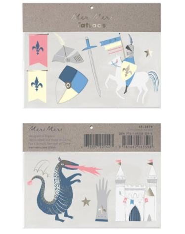 meri meri dragon knights tattoo both sides laydown on white background in packaging