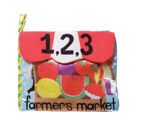 manhattan toy farmers market soft book front cover laydown on white background