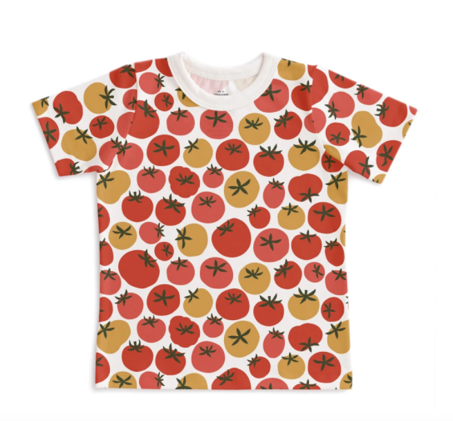 winter water factory tee tomato laydown on white background top view