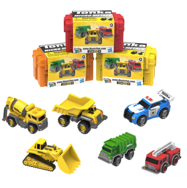 tonka truck micro metals photo of all styles and boxes laid out on white background