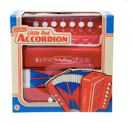accordion front view in box on white background