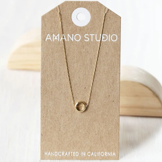 amano studio small ring necklace front view on card backing