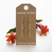 Load image into Gallery viewer, amano studio paperclip earrings front view on card backing