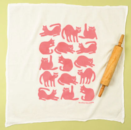 kei molly flour towel pink cats laydown with spoon