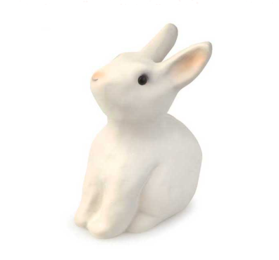 Diagonal forward view of PVC white rabbit savings bank
