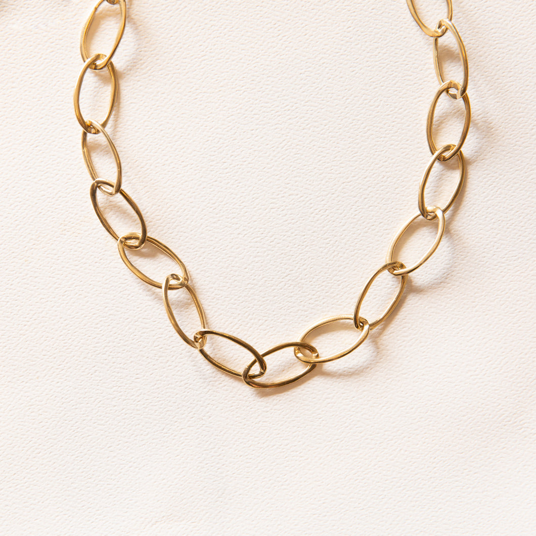 brass link necklace from portland, oregon