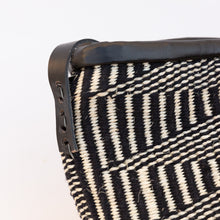 detail of sisal bag in black & white
