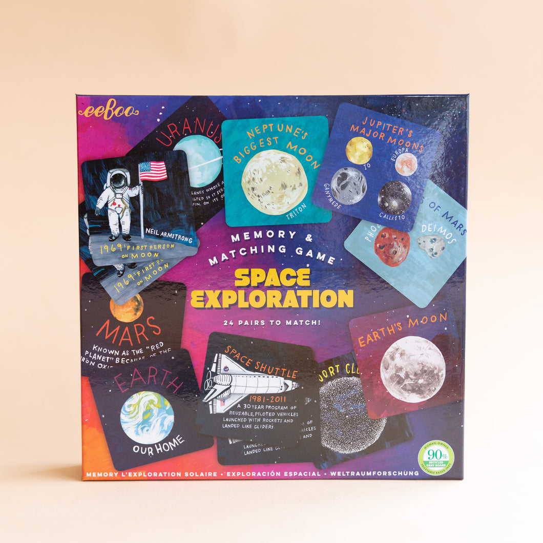 front view of space exploration memory & matching game