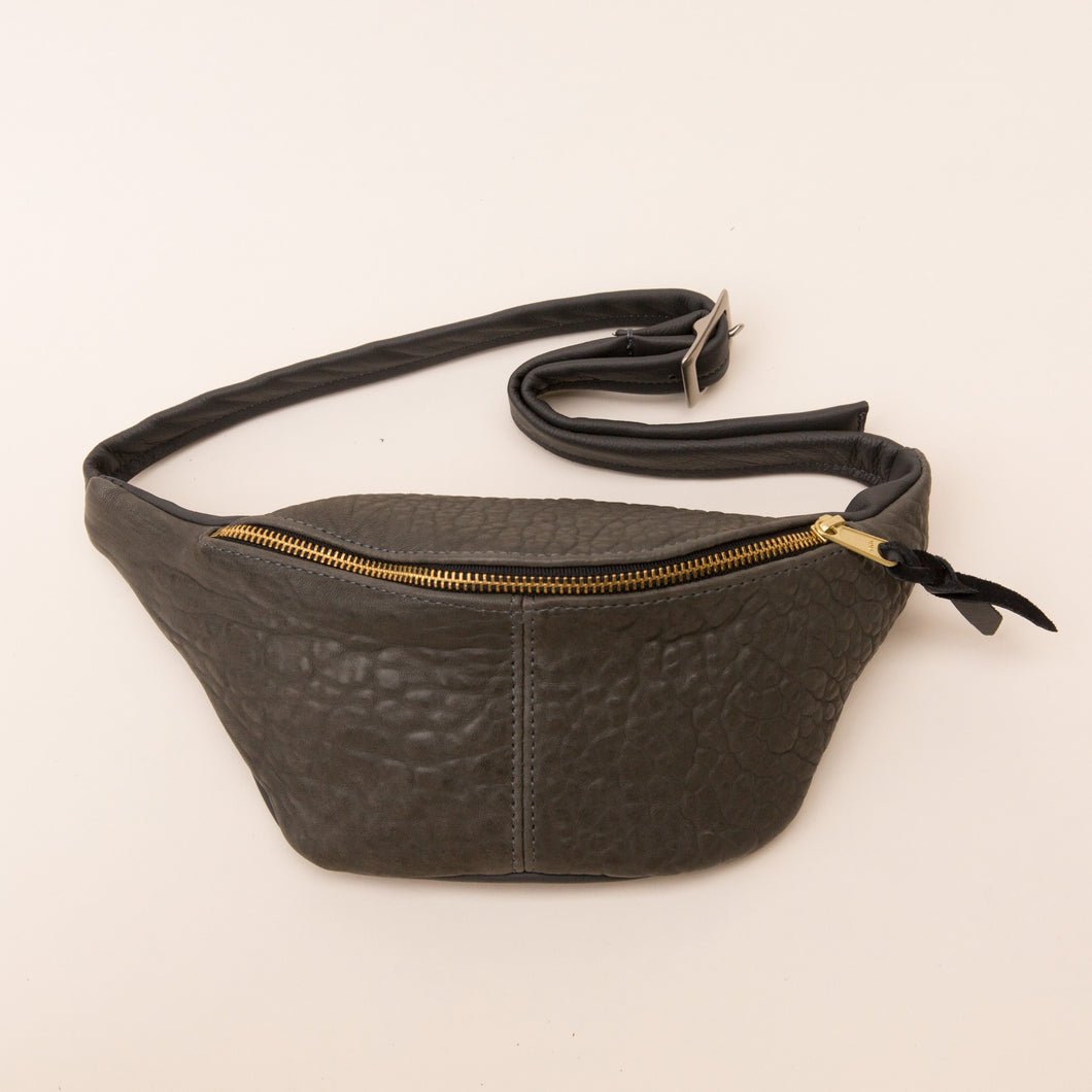front view leather fanny pack from berkeley