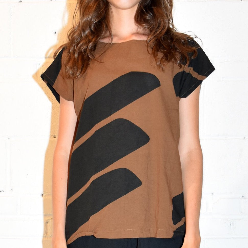 Front view of Uzi Brown Swipe tee