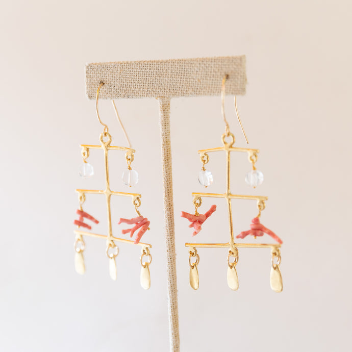 diagonal view of rising sea earrings