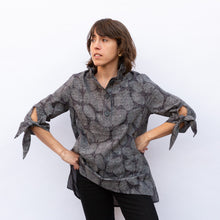 front view terra wire collar blouse in grey leaf print