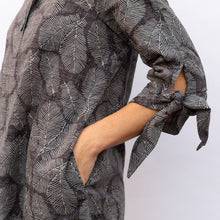 sleeve view terra wire collar blouse in grey leaf print