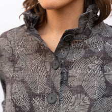 close up collar view terra wire collar blouse in grey leaf print