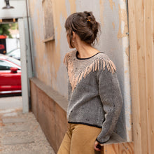 diagonal view tonlé fringe sweater from cambodia