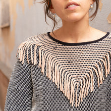 close up view tonlé fringe sweater from cambodia