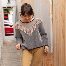 front view tonlé fringe sweater from cambodia