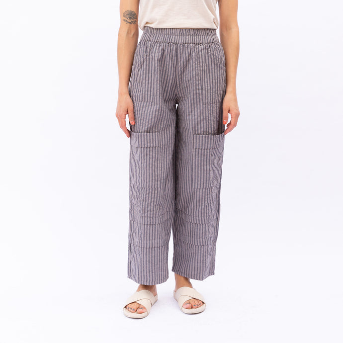 front view of pinstripe pant in lilac