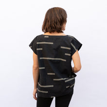 back view uzi tunic in charcoal rectangle