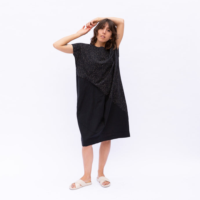 front view of speckle wave dress