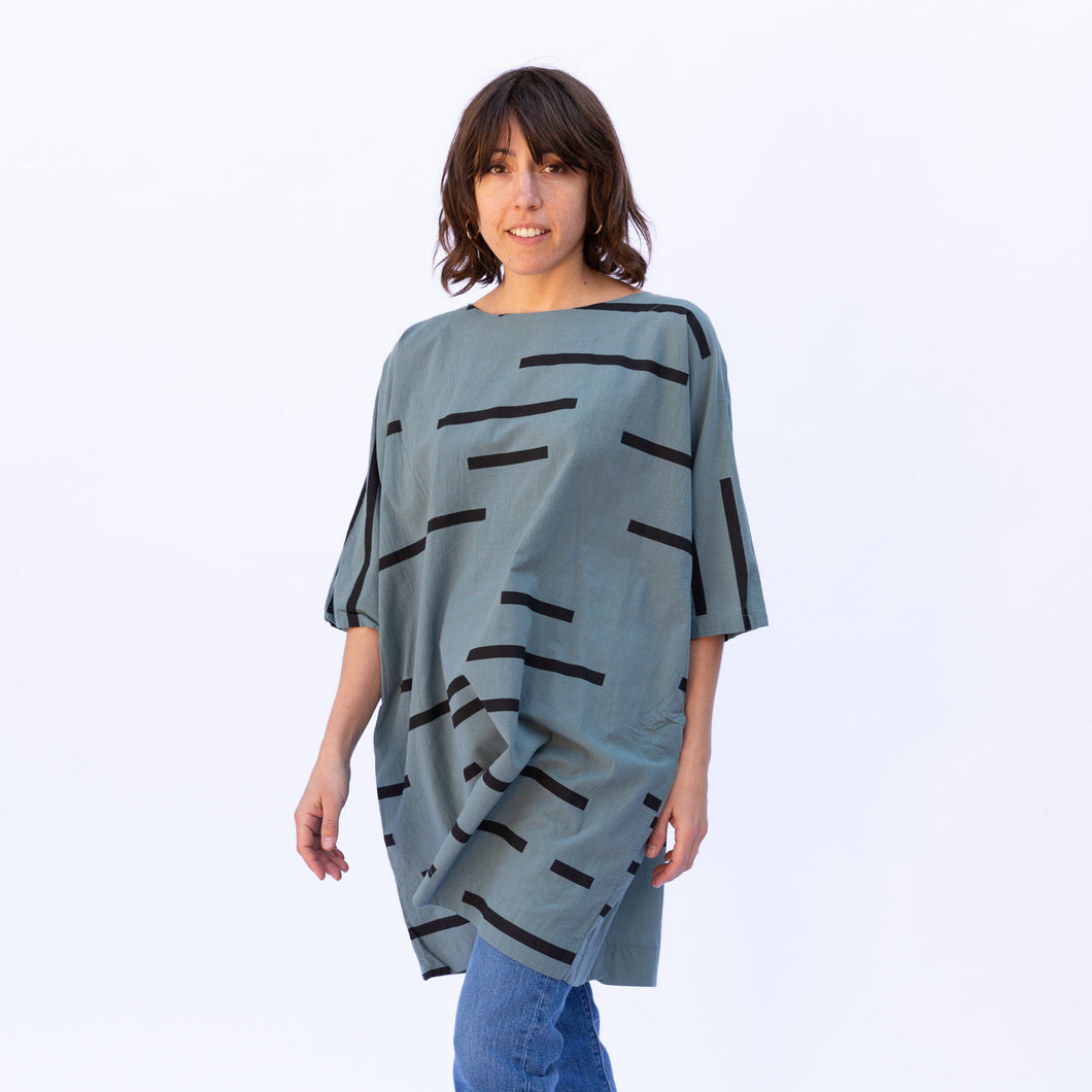 front view uzi tunic in teal stripe