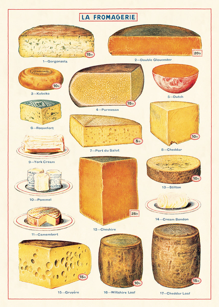 This print features reproductions of vintage cheese images.