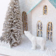 close up bear view of white winter church