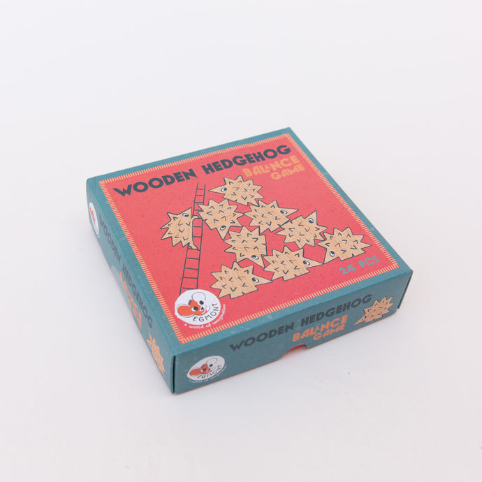 diagonal view wooden hedgehog game from belgium