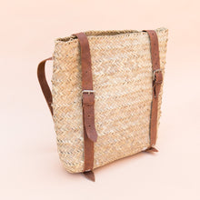 diagonal view woven backpack from morocco