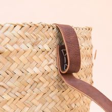 close up view woven backpack from morocco