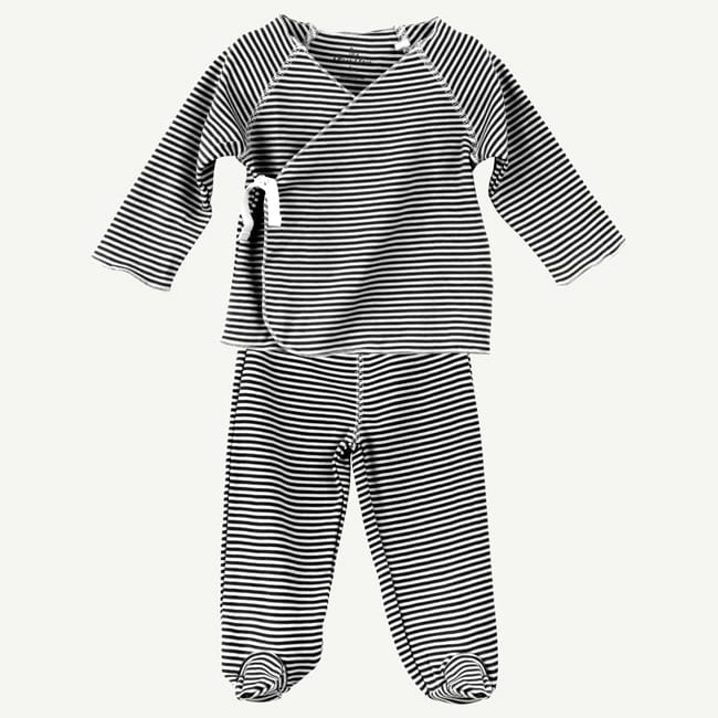 Oliver & Rain | Black and White Mini Stripe 2-Piece Pima Cotton Wrap Set