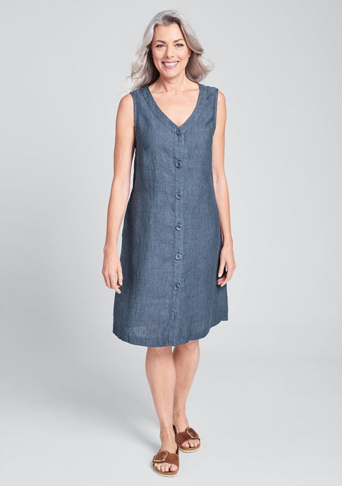 Front view of Flax's damsel dress in blue linen