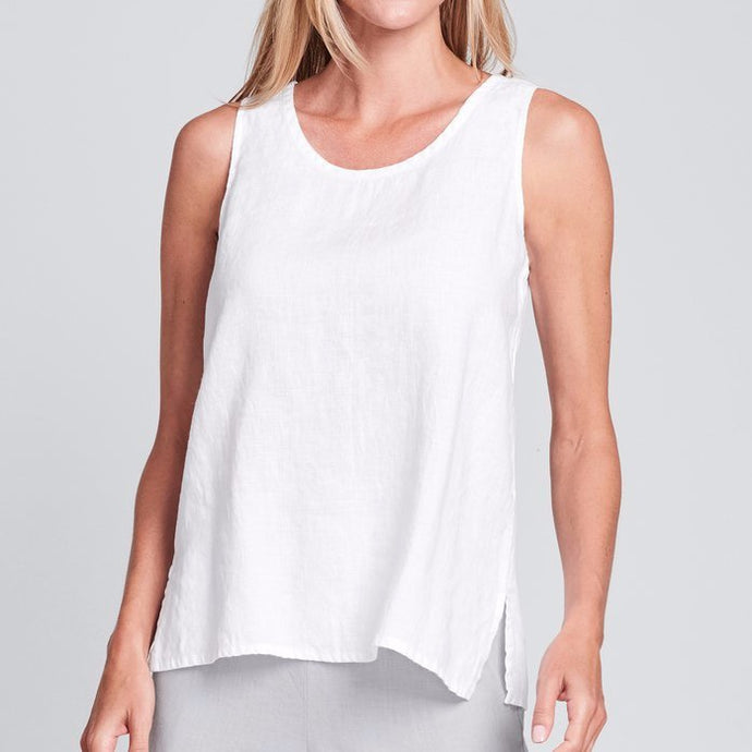Front view of Flax linen fundamental tank in white