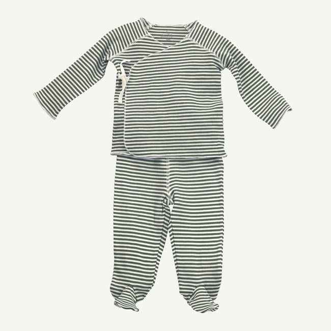 Oliver & Rain | Olive and White Striped 2-Piece Wrap Set