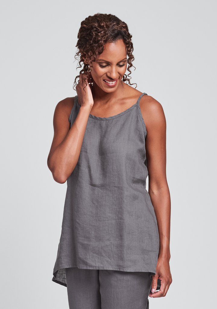 Front view of Flax linen long camisole in pewter
