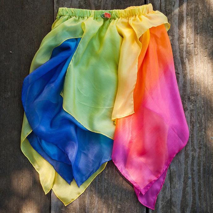 Flat lay image of Sarah's Silks yellow and rainbow fairy skirt