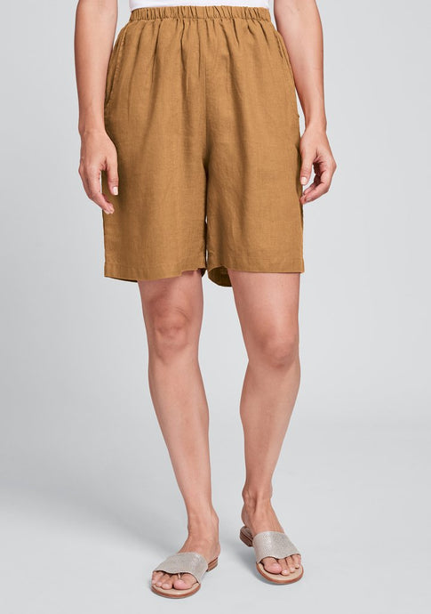 Front view of Flax linen sun shorts in ginger
