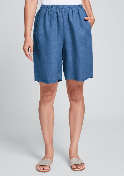 Front view of Flax linen sun shorts in ocean