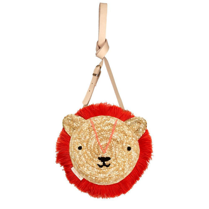 front view woven lion purse