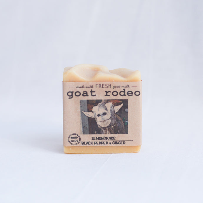 front view goat rodeo lemongrass soap from los angeles