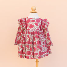 Cotton Ruffle Dress in Pink Floral